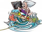 stock photo of groupies  - Cartoon of a cartoon Einstein on a wakeboard with a pair of happy fish groupies - JPG