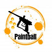 foto of paintball  - stamp Paintball with Paintball marker in orange - JPG