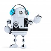 Robot With Headphones Pointingat Invisible Object. Isolated. Contains Clipping Path