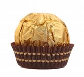 Close up of chocolate gold bonbon.
