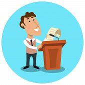 Business manager making public presentation