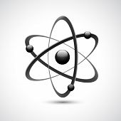 stock photo of proton  - Atom 3d abstract physics science model symbol vector illustration - JPG