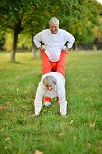 Sportive elderly couple