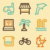 Vacation web icons set in retro style