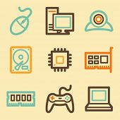 Computer web icons set in retro style