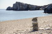 image of fulcrum  - Pebbles in balancing on the sea coast - JPG