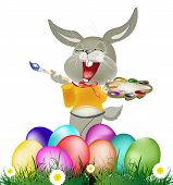 stock photo of duck egg blue  - Happy Rabbit and Easter Eggs on white background - JPG
