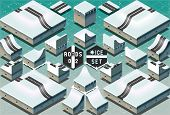 Isometric Roads On Two Levels Frozen Terrain