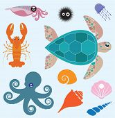 Vector set which represent various sea animals. Abstract decorative cute illustration. Graphic desig