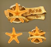 Starfish retro vector icon