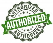 Authorized Green Grunge Retro Style Isolated Seal