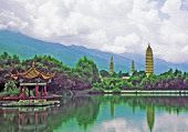 Three Famous Pagodas In Dali Oil Painting Stylized Photo