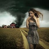Tornado Destroying A Woman's House
