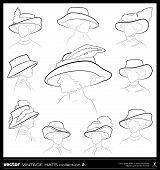 Vintage Woman Hat Vector Drawing Set.