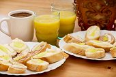 Tasty Canapes With Juice And Coffee