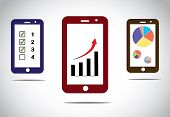 Mobile Business Progress Charts And Arrow Infographics Icons. Different Mobile Business Success Base