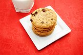 Oatmeal Raisin Cookies On A White Plate With Milk