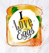 picture of scrambled eggs  - Breakfast painted watercolor toast with scrambled eggs and salad with lettering I love eggs - JPG