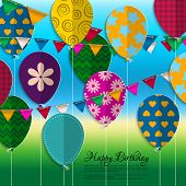 Birthday card with paper balloons, bunting flags and birthday text.