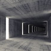Abstract Dark Empty Concrete Tunnel Interior, 3D Background