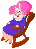 stock photo of old lady  - Old lady sitting on a rocking chair - JPG