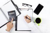 Hands Calculate Financial Report