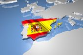 picture of continents  - Spain Country Map on Continent 3D Illustration - JPG