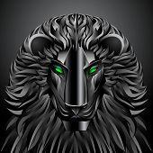 foto of cyborg  - animals lion black technology cyborg  metal profile robot - JPG