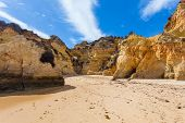 picture of vilamoura  - Rocky cliffs on the coast of the Atlantic ocean in Lagos Algarve Portugal - JPG