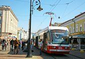 New Tram On The Celebration Rozhdestvenskaya Street