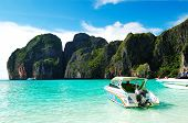 Koh Phi Phi, Thailand - September 13: Motor Boats On Turquoise Water In Maya Bay Lagoon On September