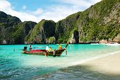 Koh Phi Phi, Thailand - September 13: Traditional Thai Motor Boat On Turquoise Water In Maya Bay Lag