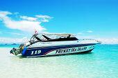 Koh Phi Phi, Thailand - September 13: Motor Boats On Turquoise Water Near Beach On September 13, 201