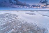 Sand Dunes On North Sea Beach At Sunrise