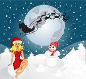 Card With Santa, Snowman And Snow Maiden. Vector