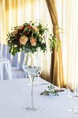 Floral Arrangement For Decoration Wedding Table For Guests. Room Table. Vintage