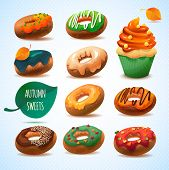 Colorful Autumn Donuts and Cupcake.Leaves and pastry goods