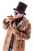 image of hustler  - a young man wearing a sheepskin coat isolated over a white background holding a cigar and a glass with champagne - JPG