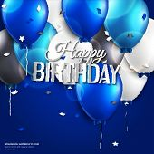 Birthday card with balloons and birthday text on blue background.