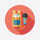 Toy Microphone Flat Icon With Long Shadow,eps10