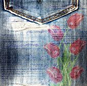 Beautiful Red Tulips On Old Jeans Background