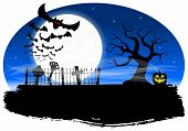 picture of vampire bat  - vector illustration of bats against the full moon - JPG