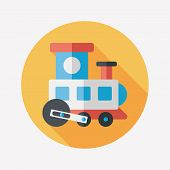 Train Toy Flat Icon With Long Shadow