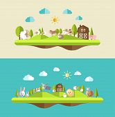 Set of flat design compositions with farm animals