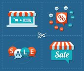 Illustration of flat design sale tags set