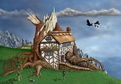foto of arthurian  - Magical thatched cottage invaded by an ancient tree - JPG