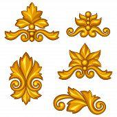 Set of baroque ornamental antique gold scrolls and vignettes.
