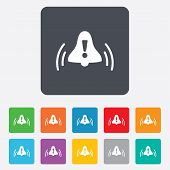 Alarm bell with exclamation mark icon. Wake up.