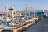 Sailing Yachts And Pleasure Boats Stand In Port Of Varna