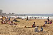 People On Addington Beach In Durban South Africa